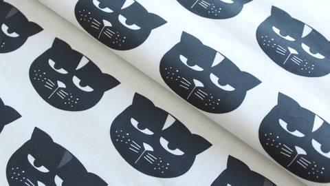 Weiß-schwarzer Perkal Baumwollstoff: Grummelkatze- 140 cm kaufen im Makerist Materialshop