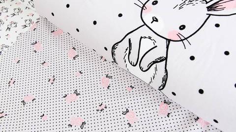 Grau-weißer Rapport Baumwolljersey: Häschen und Rosen - 150 cm kaufen im Makerist Materialshop