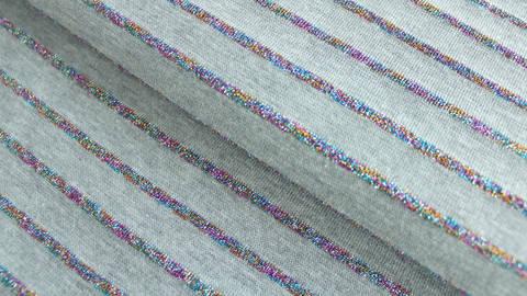 Baumwolljersey grau Melange: Bunte Glitzer Streifen - 150 cm kaufen im Makerist Materialshop