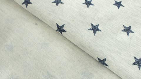 Sweatstoff Melange ecru: Glitzer Sterne - 145 cm  kaufen im Makerist Materialshop