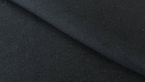 Schwarzer Baumwoll-Strickstoff: Pointoille - 140 cm kaufen im Makerist Materialshop