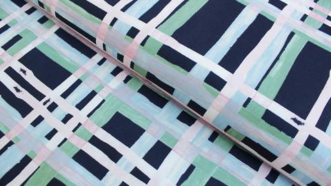 Dunkelblauer Baumwoll-Satin: Karo Kunst - 150 cm kaufen im Makerist Materialshop