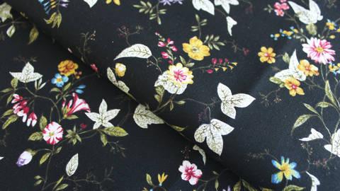 Baumwollstoff schwarz: Blumenranken - 112 cm kaufen im Makerist Materialshop