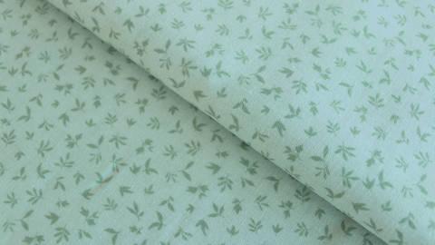 Mintfarbener Baumwollstoff: Kleine Blätter - 112 cm kaufen im Makerist Materialshop
