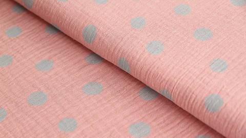 Rosa-grauer Baumwollstoff Musselin: Dots - 132 cm kaufen im Makerist Materialshop