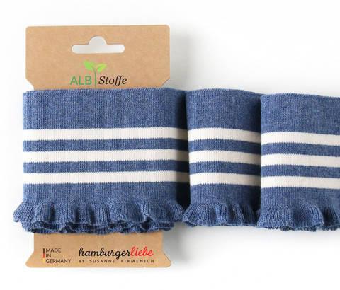 Elastische Cuff me Bündchen: Frill - Col.11 jeansblau weiß kaufen im Makerist Materialshop