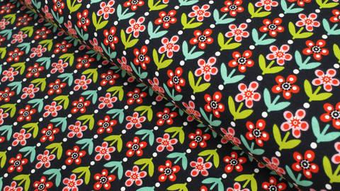 Baumwolljersey dunkelbau: Retro Blumen - 150 cm kaufen im Makerist Materialshop