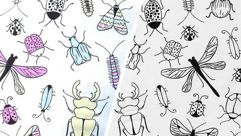 Baumwolljersey weiß: Farbwechsel Insekten - 160 cm - ARCHIVIERT - kaufen im Makerist Materialshop