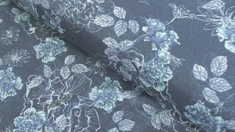 Dunkelblau bedruckter Jersey: Avalana Blumen - 160 cm kaufen im Makerist Materialshop