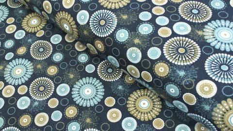 Acheter Tissu en Jersey imprimé bleu foncé  - Mandala - 160 cm dans la mercerie Makerist