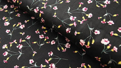 Viskosestoff schwarz: Kleine Blumen - 150 cm - ARCHIVIERT - kaufen im Makerist Materialshop