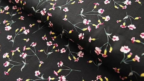 Viskosestoff schwarz: Kleine Blumen - 150 cm kaufen im Makerist Materialshop