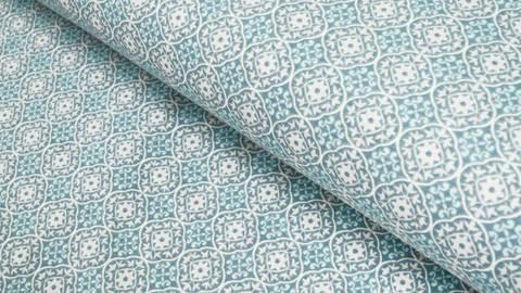 Baumwolljersey blau-taupe: Ornamente - 150 cm kaufen im Makerist Materialshop