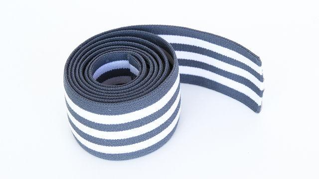 Elastisches Streifenband - grau-weiß - 4 cm  - Kurzwaren und Zubehör kaufen im Makerist Materialshop