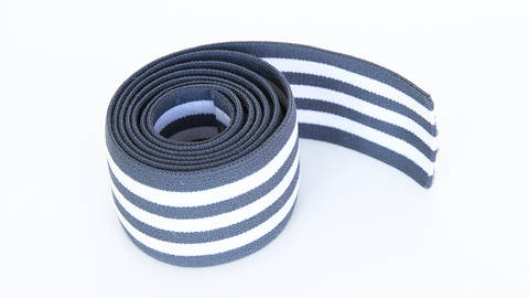 Elastisches Streifenband - grau-weiß - 4 cm  im Makerist Materialshop