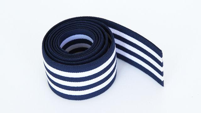 Elastisches Streifenband - blau-weiß - 4 cm  - Kurzwaren und Zubehör kaufen im Makerist Materialshop