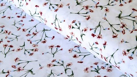 Viskosestoff weiß: Kleine Blumen - 150 cm kaufen im Makerist Materialshop