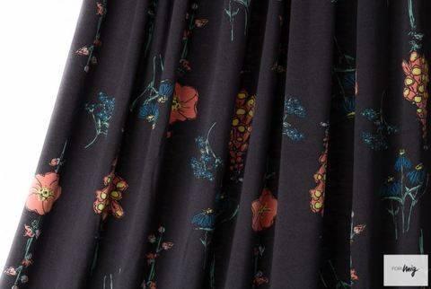 Lillestoff Modalstoff schwarz: Floral Rain - 150 cm kaufen im Makerist Materialshop