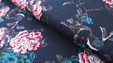 Viskosestoff dunkelblau: Blumen und Vögel - 150 cm kaufen im Makerist Materialshop