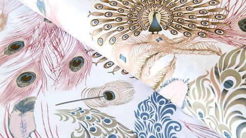 Viskosestoff weiß: Pfauenfeder - 150 cm kaufen im Makerist Materialshop