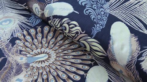 Viskosestoff dunkelblau: Pfauenfeder - 150 cm kaufen im Makerist Materialshop