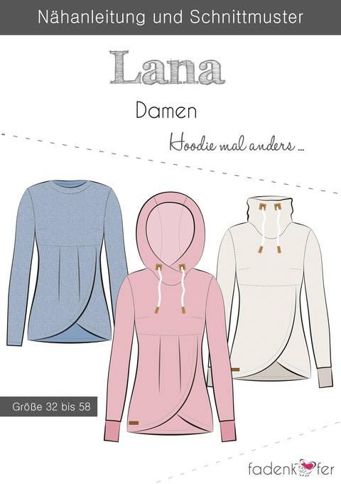 Fadenkäfer Schnittmuster und Nähanleitung gedruckt: Lana Damen-Hoodie kaufen im Makerist Materialshop