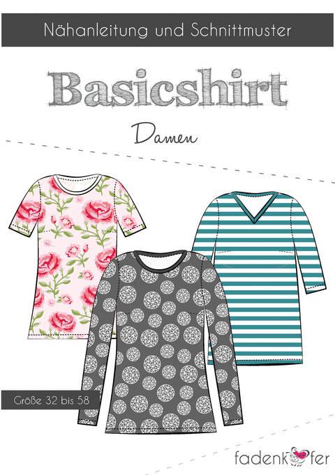 Fadenkäfer Schnittmuster und Nähanleitung gedruckt: Basicshirt Damen kaufen im Makerist Materialshop