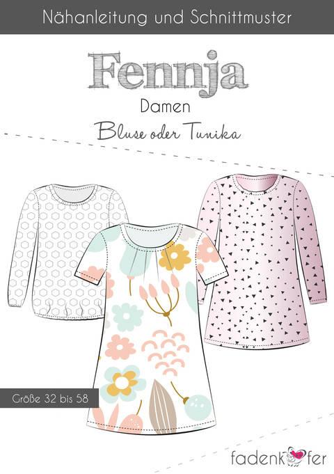 Fadenkäfer Schnittmuster und Nähanleitung gedruckt: Fennja Damenbluse oder -tunika kaufen im Makerist Materialshop