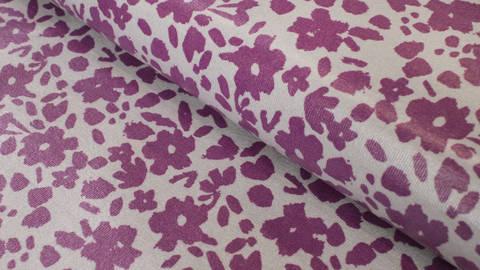 Beschichteter Jersey lila-grau: Blumen - 150 cm kaufen im Makerist Materialshop