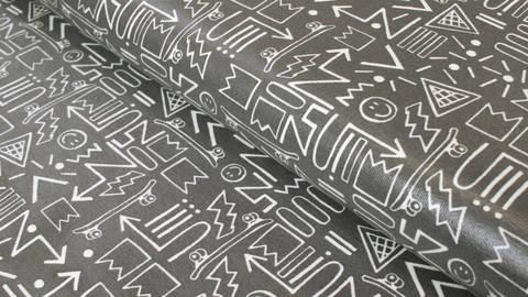 Beschichteter Jersey dunkelgrau: Skateboards - 150 cm kaufen im Makerist Materialshop