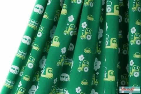 Lillestoff Bio-Jersey grün: On Wheels - 150 cm kaufen im Makerist Materialshop