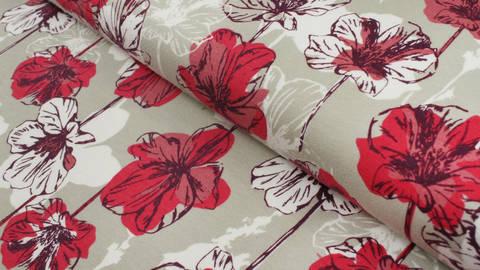 Sweatstoff beige: Avalana Blumen - 160 cm kaufen im Makerist Materialshop
