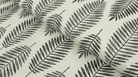 Baumwoll-Mischgewebestoff natur Leinenoptik: Glitzer Blätter - 140 cm kaufen im Makerist Materialshop