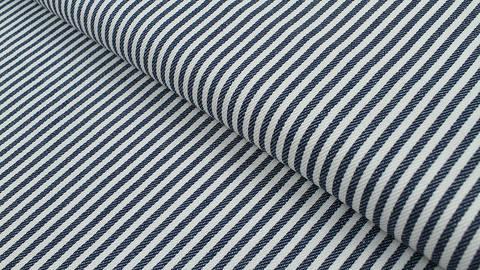 Baumwoll-Jeansstoff blau-weiß: Schmale Streifen - 150 cm kaufen im Makerist Materialshop