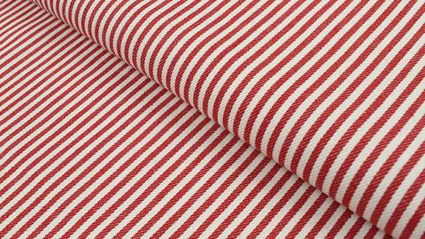 Baumwoll-Jeansstoff rot-weiß: Schmale Streifen - 150 cm kaufen im Makerist Materialshop
