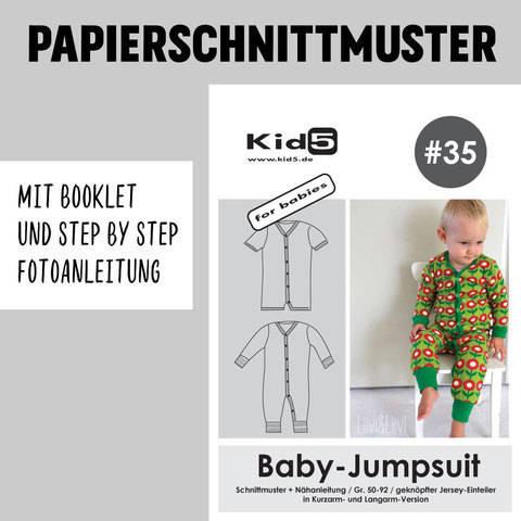 Kid5 Schnittmuster und Nähanleitung gedruckt: Baby-Jumpsuit kaufen im Makerist Materialshop