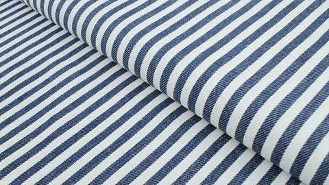 Baumwoll-Jeansstoff blau-weiß: Streifen - 150 cm kaufen im Makerist Materialshop