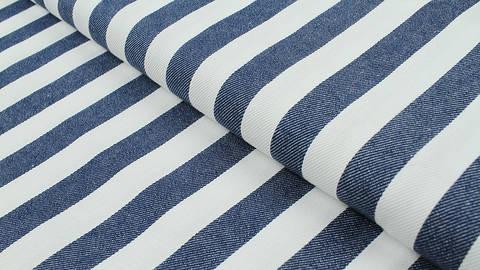 Baumwoll-Jeansstoff blau-weiß: Breite Streifen - 150 cm kaufen im Makerist Materialshop