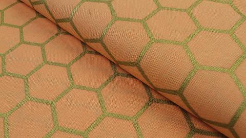 Baumwoll-Mischgewebestoff pfirsich: Goldene Honigwaben - 140 cm kaufen im Makerist Materialshop