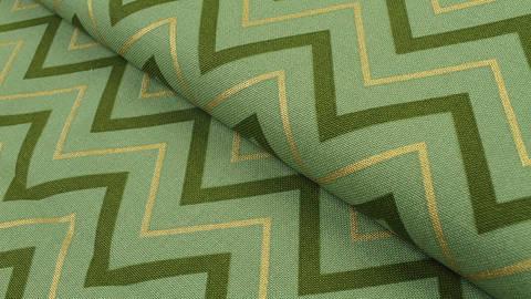 Baumwoll-Mischgewebestoff grün: Gold Zick Zack - 140 cm kaufen im Makerist Materialshop