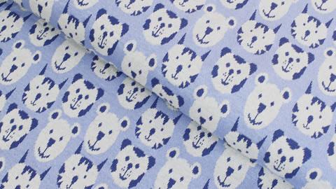 Jacquardstoff blau: Avalana Bären und Tiger - 160 cm kaufen im Makerist Materialshop