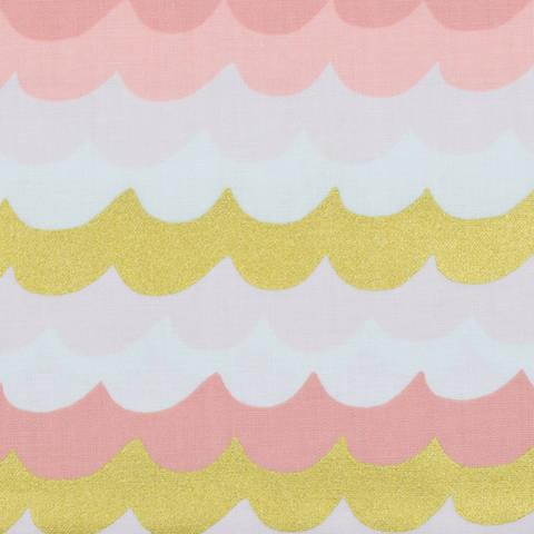 Cotton and Steel - Amalfi - Waves Coral Metallic kaufen im Makerist Materialshop