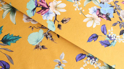Baumwolljersey ocker: Megan Blue Tricot Big Garden Floral - 150 cm kaufen im Makerist Materialshop