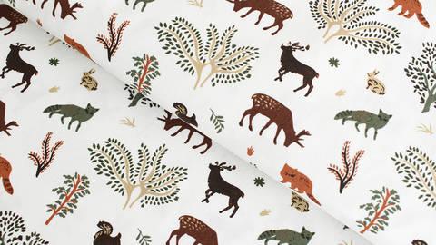 Baumwollstoff ecru: Animals and Trees - 145 cm kaufen im Makerist Materialshop