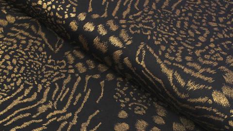 Baumwoll-Mischgewebestoff schwarz: Goldprint - 150 cm im Makerist Materialshop