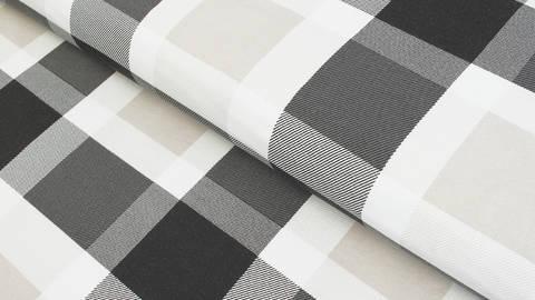Sweatstoff schwarz-weiß-beige: Avalana Karos - 160 cm kaufen im Makerist Materialshop