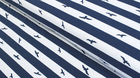 Baumwolljersey navy-weiß: Birds and Stripes - 145 cm kaufen im Makerist Materialshop