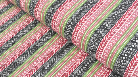 Baumwolljersey grün-rot-schwarz: Ethno-Muster - 165 cm kaufen im Makerist Materialshop