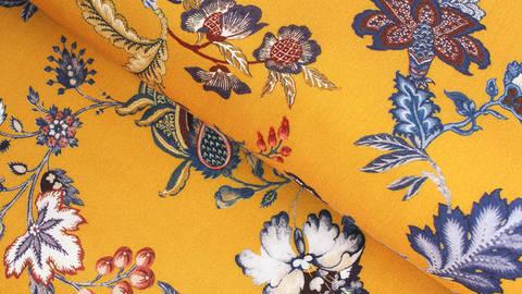 Viskosestoff ocker: Blumen - 140 cm kaufen im Makerist Materialshop