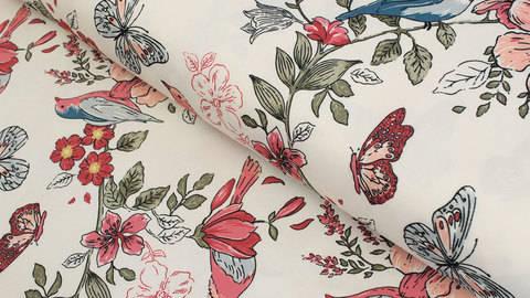 Regenjackenstoff ecru: Blumen und Vögel - 147 cm kaufen im Makerist Materialshop